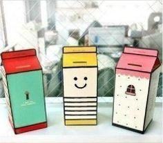 2016 Promotion Sale Box Cofre Cofrinho Tirelire Diy Personality Lovely Paper Milk Carton Piggy Bank A Section Japanese Packaging, Cool Packaging, Beverage Packaging, Brand Packaging, Design Packaging, Product Packaging, Milk Box, Diy Cardboard, Design Poster