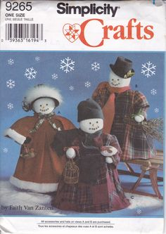 Free Us Ship Craft Sewing Pattern Simplicity 9265 Snowmen Snowman Carolers Family Dolls Holiday 1994 Uncut ff Faith Van Zanten by LanetzLiving on Etsy