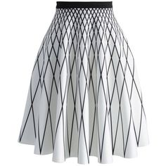 Chicwish Rest and Nest A Midi Skirt (£38) ❤ liked on Polyvore featuring skirts, white, striped midi skirt, midi skirt, mid calf skirts, stripe skirt and white pleated skirt