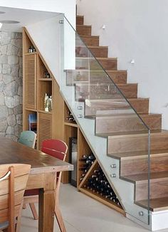 22 great idea design storage opportunities with stairs 7 Home Stairs Design, Railing Design, Interior Design Living Room, House Design, Stair Design, Staircase Storage, Stair Storage, Glass Stairs, Modern Stairs