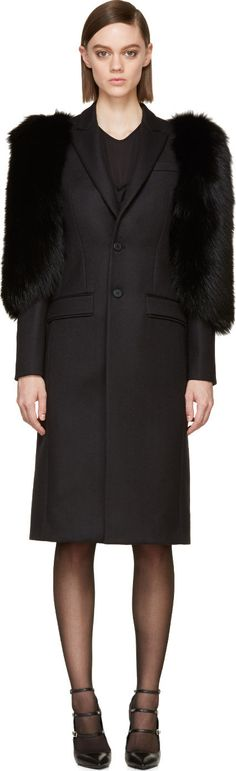 Givenchy Black Wool & Sable Fur Peaked Lapel Peacoat