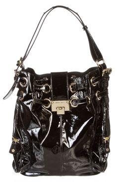 Jimmy Choo Black Patent Leather Shoulder Handbag Jimmychoo Hobo
