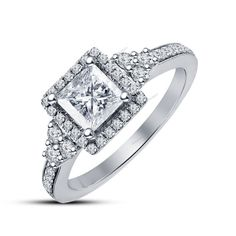 0.57 CT Princess & Round Diamond White Gold Finish Solitaire with Accents Ring #Aonedesigns