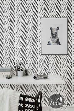 Self Adhesive Herringbone Pattern Removable by ZEWallpaper on Etsy