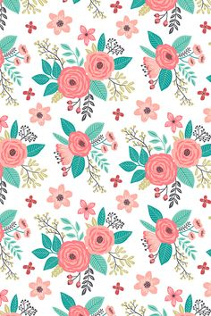 Vintage Antique Floral Flowers on White by caja_design - Colorful floral illustration in pink, teal, black, and olive on fabric, wallpaper, and gift wrap.  Playful floral pattern with a whimsical twist.