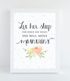 Let Her Sleep - Girls Nursery Quote - Nursery Typography - Motivational Wall Quote - Fine Art Print - Digital Typography - Baby Girl Art