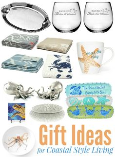 Home Decor Gift Ideas for Coastal and Beach Style Living. Coastal Gift Guide 2015: http://www.completely-coastal.com/2015/12/home-decor-gift-ideas-coastal-beach-style.html