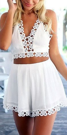 Plunge Hollow Out Halter Top & Mini Shorts Co-ord From Young & Free Clothing