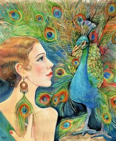 Elephant Pictures, Bird Pictures, Pictures To Paint, Art Deco Paintings, Animal Paintings, Paintings For Sale, Peacock Painting, Peacock Art, Watermelon Painting