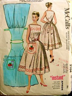 McCalls Vintage Wrap -around Apron Pattern. Back panel wraps around to the front and buttons at waist via tabs that slip through buttonholes. Front panel wraps around to the back and is tied with a bow at back waist.McCalls Vintage Wrap -around Apron Vintage Apron Pattern, Vintage Dress Patterns, Clothing Patterns, Vintage Dresses, Vintage Outfits, Apron Patterns, Retro Apron, Skirt Patterns, Vogue Patterns