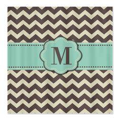 Brown Mint Monogram Shower Curtain