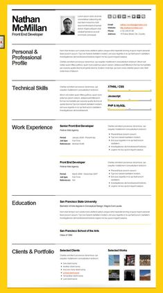 Minimal Resume Template Page  Cv Template  Cover Letter