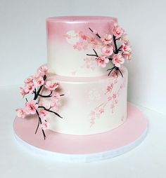 A Lovely Cherry Blossom Quinceanera Theme - Hochzeit - Wedding Cakes Pretty Cakes, Cute Cakes, Beautiful Cakes, Amazing Cakes, Cherry Blossom Party, Cherry Blossoms, Cherry Blossom Decor, Japanese Birthday, Anime Cake