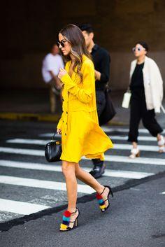 bright yellow // Street Style NYFW SS17
