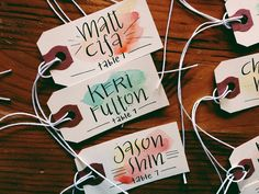 Calligraphy & Watercolor: Guest name tags