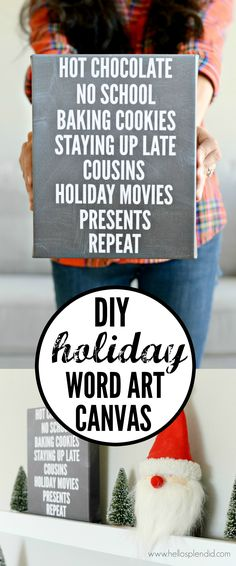 Easy DIY Word Art Canvas - Just upload your text and get it shipped right to your door!  Perfect decor for any holiday,.