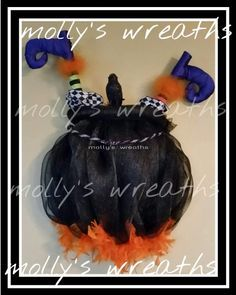 Molly's wreaths original Witches Pot Door Decoration with witch legs| CraftOutlet.com Photo Contest