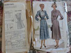 Lot of 2 Vintage Sewing Patterns, Women's 1940s Jumper Mail Order, 1950s Advance 7143 Dress, sz 16 by JoysinStitches on Etsy