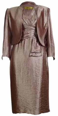 Kasper Women's Business Suit Metallic Dress and Jacket Set