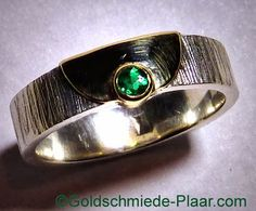 Goldschmiede Plaar in Osnabrück: Silber-Ring mit Smaragd und 585/- Gold - silverring with emerald and 14ct gold