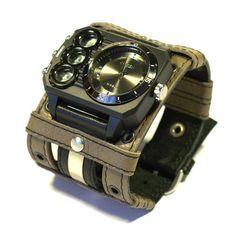 "Mens Watch Steampunk Wrist Watch Leather- Gifts for Men bracelet ""Defender-2""-SALE-Worldwide Shipping - Steampunk Watches"
