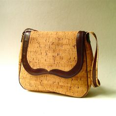 vintage Cork Fabric Purse with Brown Leather by SkinnyandBernie