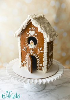 Gingerbread Birdhouse decorated with royal icing.