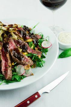Rare Beef, Hand Cut Chips Rocket Salad, Radish, Battered Green Beans, Garlic & Chilli Flakes, Black Bean Dressing, Ginger & Grain Mustard Mayonnaise