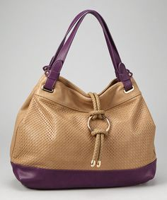 Take a look at this Khaki & Purple Bola Tie Tote by Fall Blow-Out: Women's Accessories on @zulily today!