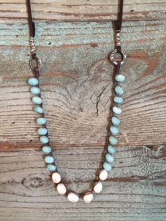 5adf47ead77 Crocheted Chunky Amazonite and Pearl Necklace by fernandstoneco on Etsy  https   www.