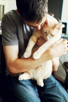 Remember, your cat sitter takes great care of your furry family member, and it's not all pets and purrs. Make sure you say thanks during Professional Pet Sitters Week and show your appreciation. Men With Cats, Cat Sitter, Cat Whiskers, Cat Photography, All About Cats, Cat People, Cat Facts, Cats And Kittens, Cute Cats