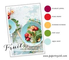 Fruits-of-Summer-3: Scarlet Jewel, Pure Poppy, Summer Sun, New Leaf, Aqua Mist