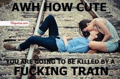 I always wondered why people wanted pics on train tracks lol