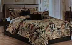 7 Pc Multi Animal Print Black, Brown, Tan Microfur Comforter Set. California King Size Comforter Set >>> Check out this great image  (This is an amazon affiliate link. I may earn commission from it)