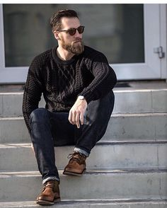 - with a fall combo idea with a black cable knit sweater black framed sunglasses dark wash denim brown shoes watch Mens Suede Boots, Fashion Boots, Mens Fashion, Oversize Pullover, Style Masculin, Outfit Jeans, Sweater Weather, Cool Style, Winter Fashion