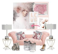 """""""Pink with Gray and The Chaise Lounge..."""" by kimberlyd-2 ❤ liked on Polyvore featuring interior, interiors, interior design, home, home decor, interior decorating, Thibaut, Disney, Ink & Ivy and Royal Albert"""