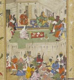 This painting from 1590 shows an Indian prince eating in the land of Ethiopians (Habshi) or East Africans (Zangis).