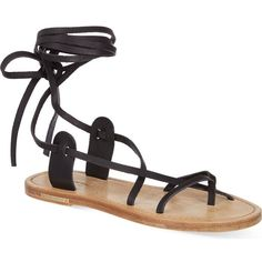 ISABEL MARANT Amy leather sandals ($390) ❤ liked on Polyvore featuring shoes, sandals, flat sandals, flats, black, gladiator flats, flat pumps, black flat sandals, black leather shoes and leather gladiator sandals