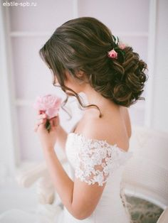 long wavy hairstyle for wedding with pink mini roses / http://www.deerpearlflowers.com/new-wedding-hairstyles-to-try/