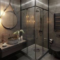 This morning I am sharing some industrial style bathroom inspiration from I just love the tap and sink! Whats your thoughts? Best Bathroom Designs, Modern Bathroom Design, Bathroom Interior, Modern Design, Dark Bathrooms, Amazing Bathrooms, Small Bathroom, Modern Bathrooms, Wc Bathroom