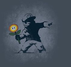 Banksy Flower T-Shirt $11 Super Mario Bros tee at TeeFury today only!