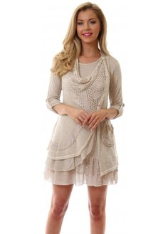 tunic style dresses beige | ... Dresses › Shyloh › Beige Knit Draped Front Silver Button Tunic