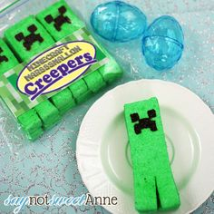 Homemade Minecraft marshmallow creepers, just like peeps!