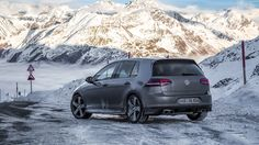 VW Golf R VII high up in the Alps