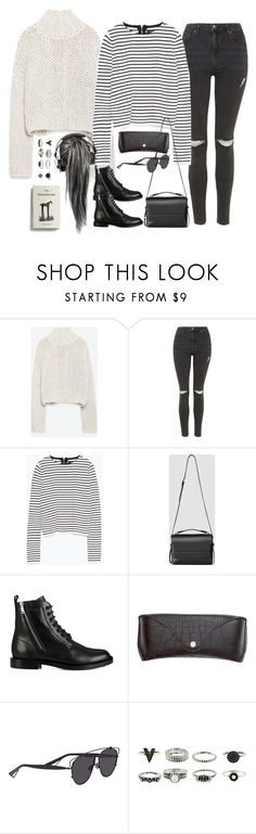 """Untitled#3802"" by fashionnfacts ❤ liked on Polyvore featuring Zara, Topshop, AllSaints, Yves Saint Laurent, H&M and Christian Dior"