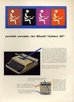 Lettera 22 Typewriter Ad, Designed by Leo Lionni, 1954