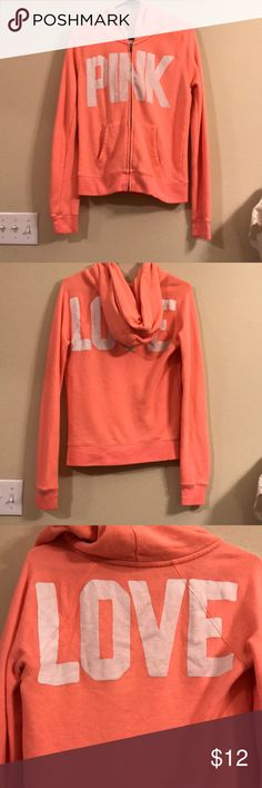 Victoria Secret long Sleeve Zip Hoodie Coral long sleeve hoodie. No stains. Does have pilling but otherwise in great condition. PINK Victoria's Secret Tops Sweatshirts & Hoodies