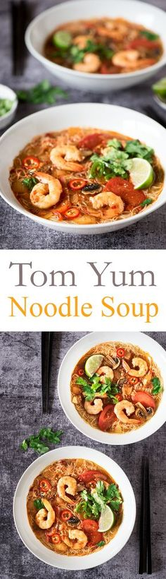 The ever popular Thai sour and spicy Tom Yum Noodle Soup. Ready in 20 minutes, it's delicious & comforting. Tom Yum Noodle Soup, Tom Yum Noodles, Tom Yum Soup, Noodle Soups, Spicy Thai Noodles, Soup Recipes, Whole Food Recipes, Cooking Recipes, Healthy Recipes