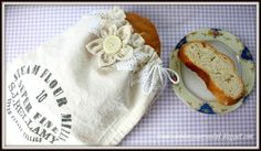 Flour Sack Bread Bag with Vintage Crocheted Lace by Jennifer Woodward  + Free Drawstring Bag Video Tutorial