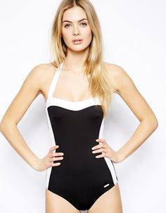 Chic black swimsuit.